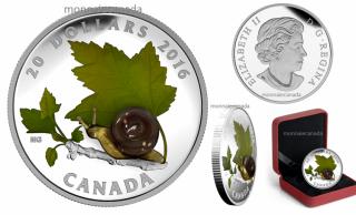 2016 - $20 - 1 oz. Fine Silver Coin – Venetian Glass Snail
