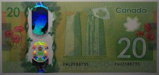 2015 $20 Dollars Unc - Wilkins Poloz - Comm. - Préfixe FWU