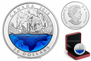 2016 - $20 - Pièce en argent pur à 99,99 % avec émail bleu : Ours Polaire