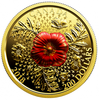 2018 - $200 - 1 oz. Pure Gold Coin - Armistice Poppy