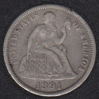 1891 - Liberty Seated - F/VF - 10 Cents