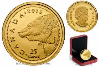 2015 - 25¢ - 0.5 g Pure Gold Coin - Grizzly Bear