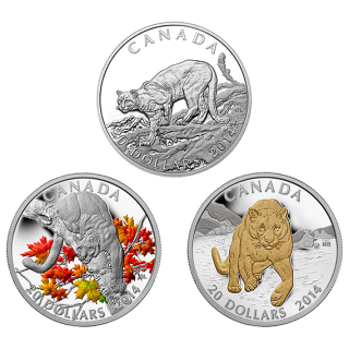2014 - $20 - 1 oz. Fine Silver 3-Coin Series - Cougar