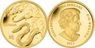 2013 - $2500 - Fine Gold One Kilogram Coin - Year of the Snake