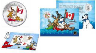 2009 Canada Day Coloured 25 Cents Coin and Magnet Set