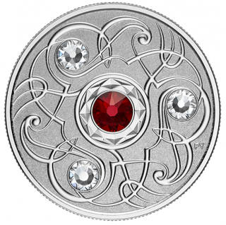 2020 - $5.00 January Birthstone - Pure Silver Coin made with Swarovski® Crystals