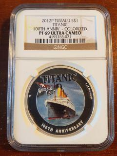 Tuvalu - 2012 P - 100th Anniv. Titanic - NGC-PF-69 Ultra Cameo