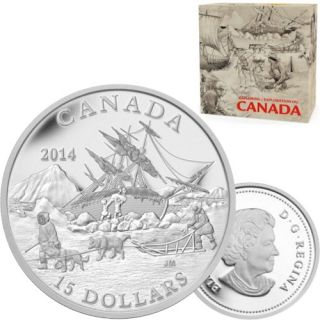 2014 - $15 - Fine Silver Coin - Exploring Canada - The Arctic Expedition