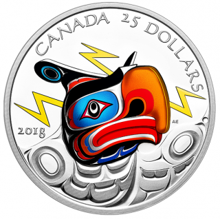 2018 - $25 - Pure Silver Ultra-High Relief Coin - Thunderbird