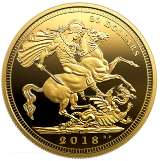 2018 - $20 - 1 oz. Pure Silver Gold-Plated Coin - The 1908 Sovereign: 110th Anniversary of the Royal Canadian Mint