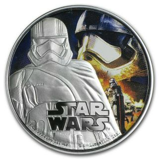 2016 Niue Star Wars: The Force Awakens - Captain Phasma 1 oz Silver Colorized Proof $2