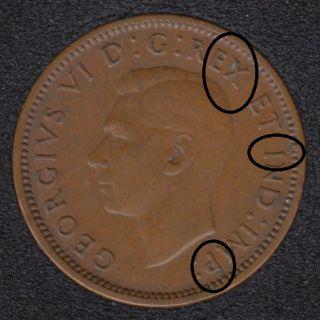 1940 - Multiple Break Head to X TO RIM - I to Rim - P to Rim - Canada Cent
