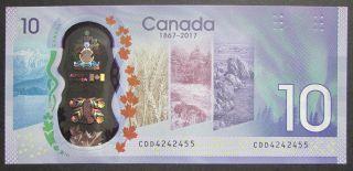 1867 2017 $10 Dollars UNC - Wilkins Poloz - Prefix CDD
