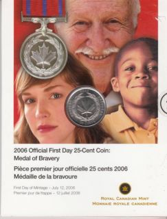 2006 - 25-cents coin official first day - Medal of Bravery