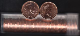 1993 Canada 1 Cent - BU ROLL 50 Coins - UNC - in Plastic Tube