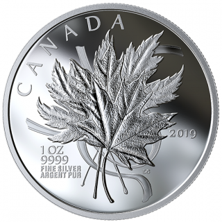 2019 - $20 -   1 oz. Pure Silver Coin - The Beloved Maple Leaf