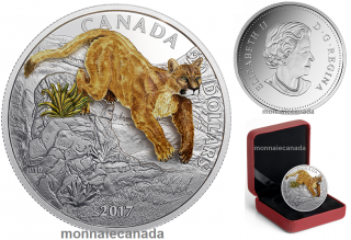 2017 - $20 - 1 oz. Pure Silver Coin - Three-Dimensional Leaping Cougar