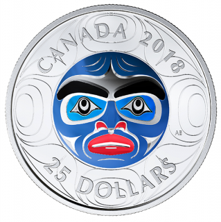 2018 - $25 - Pure Silver Ultra-High Relief Coin - Ancestor Moon Mask