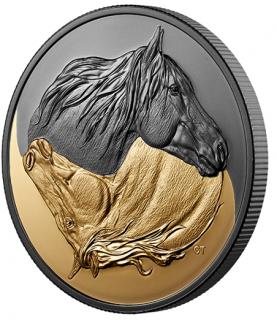 2020 - $20 - Pièce de 1 oz en argent pur avec placage d'or - Noir et or : Le cheval canadien