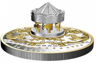 2018 - $50 - 6 oz. Pure Silver Gold-Plated Coin - Antique Carousel