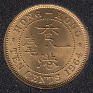 1964 - 10 Cents - B.Unc - Hong Kong
