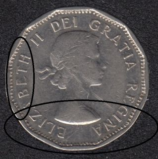 1961 - Filling Denticle - Canada 5 Cents
