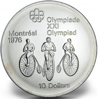 1976 - #11 (1974) - $10 - Sterling Silver Coin, Montreal Summer Olympic Games, Cycling