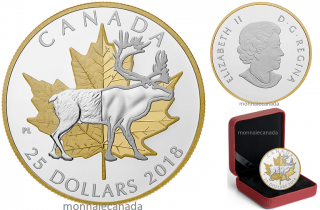 2018 - $25 - 1 oz. Pure Silver Gold Plated Piedfort - Timeless Icons: Caribou