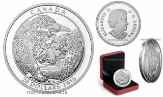 2016 - $20 - 1 oz. Fine Silver Coin – Grizzly Bear: The Battle