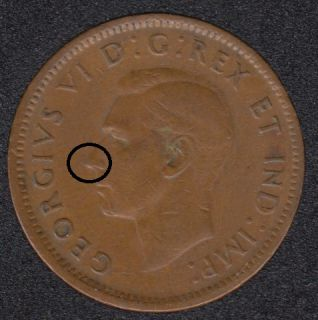 1945 - Dot & Pointed Nose - Canada Cent