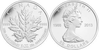 2013 - $50 - 5 oz Fine Silver Coin - 25th Anniversary of the Silver Maple Leaf Coin
