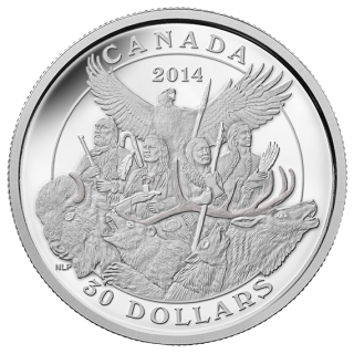 2014 - $30 - 2 oz. Fine Silver Coin - Canadian Monuments: National Aboriginal Veterans Monument