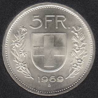 Switzerland - 1969 - 5 Francs - Silver