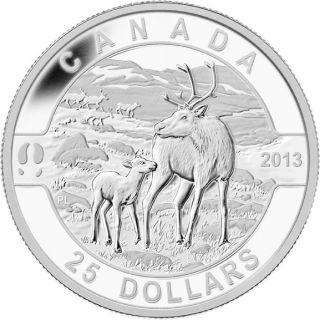 2013 - $25 - 1 oz Fine Silver Coin  - Caribou