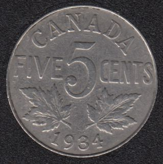 1934 - VF - Canada 5 Cents