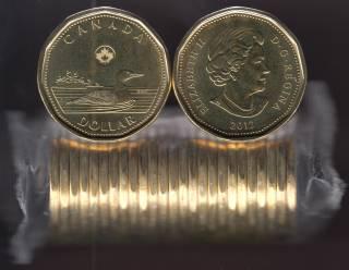 2012 Canada Roll $1 Dollar - Loon - New Generation - 25 Coins - UNC