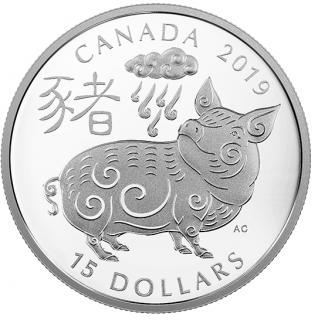2019 - $15 - Pièce de 1 oz en argent pur - Année du Cochon