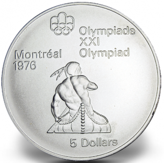 1976 - #10 (1974) - $5 - Sterling Silver Coin, Montreal Summer Olympic Games, Canoeing