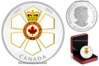 2017 - $20 - 1 oz argent - Distinctions honorifiques canadiennes: 50e anniversaire l'Ordre du Canada