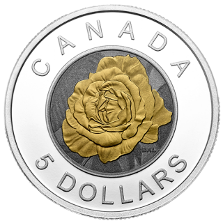 2014 - $5 - Fine Silver Coin with Niobium Colouring - Flowers in Canada Series - Rose