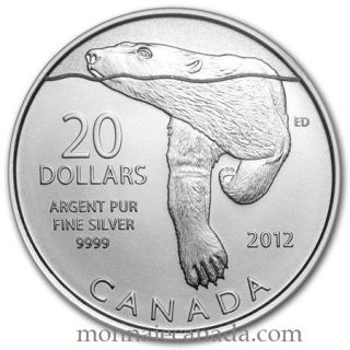 2012 - $20 for $20 - Pure Silver 99.99% Commemorative Coin - Polar Bear