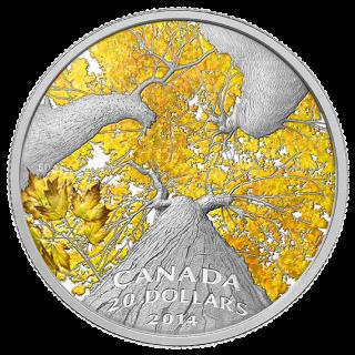 2014 - $20 - 1 oz. Fine Silver Coin - Maple Canopy: Autumn Allure