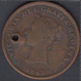 N.B. 1843 Victoria Dei Gracia Regina Half Penny Token - Hole - NB-1A1