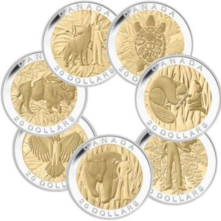 2014 - $20 -  Fine Silver 7-Coin Box Proof Set - The Seven Sacred Teachings