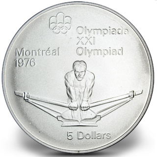 1976 - #12 (1974) - $5 - Sterling Silver Coin, Montreal Summer Olympic Games, Rowing