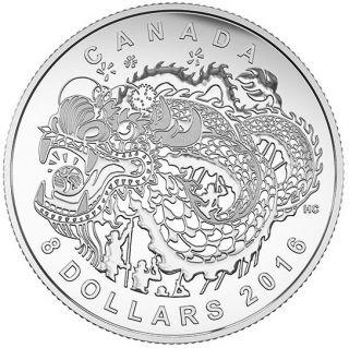 2016 - $8 - Pièce en argent fin – La danse du dragon