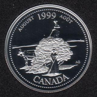 1999 - #8 Proof - Argent - Aôut - Canada 25 Cents