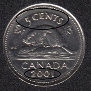 2001 P - Extra Metal 5 'CENTS' DATE & Dot sur Feuille Érable - Canada 5 Cents