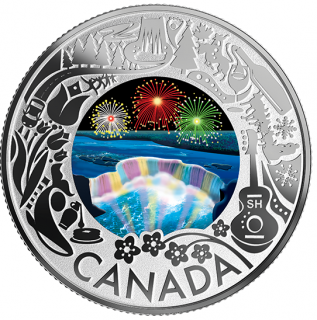2019 - $3 - Pure Silver Coloured Coin - Niagara Falls Winter Lights: Celebrating Canadian Fun and Festivities