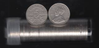 1922 Canada 5 Cents -  ROLL 40 COINS IN PLASTIC TUBE